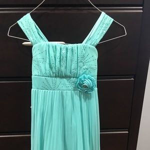 Teal dress with float layers, worn 3 times.